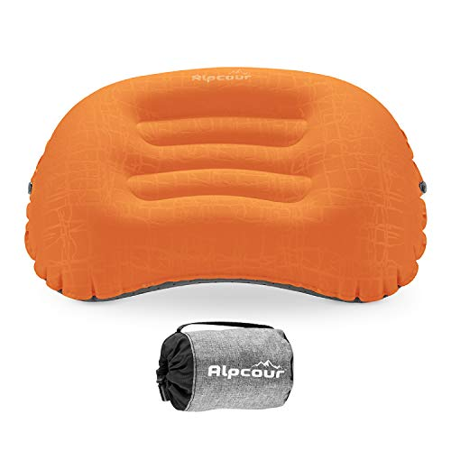 Alpcour Camping Pillow - Large, Inflatable, Ultralight Sleeping Pillow with Easy Blow Up Design, Soft Waterproof Exterior Cover and Compact Carry Case for Hiking, Backpacking, Airplane Travel & More