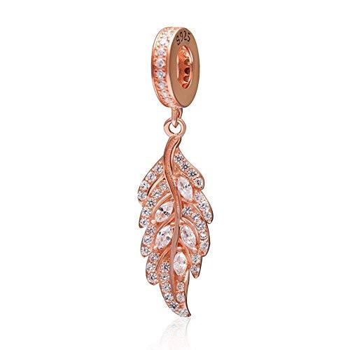 Abalorio de plata de ley 925 con diseño de ángel y pluma de oro rosa para pulsera Pandora