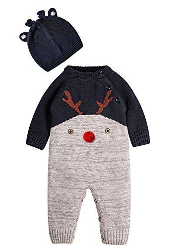 Zoerea Neonato Bambino Maglione Unisex Disegno del Modello dei Cervi Autunno e Inverno Chir Natale per 0-2 Anni