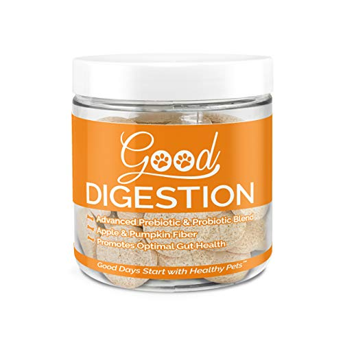 Good Pet Supplements Digestion Dog Supplement with Apple and Pumpkin Fiber, Digestive Enzyme Blend, Prebiotics and Probiotics - for Gas, Constipation, and Stomach Relief, 60 Beef Flavored Chews.