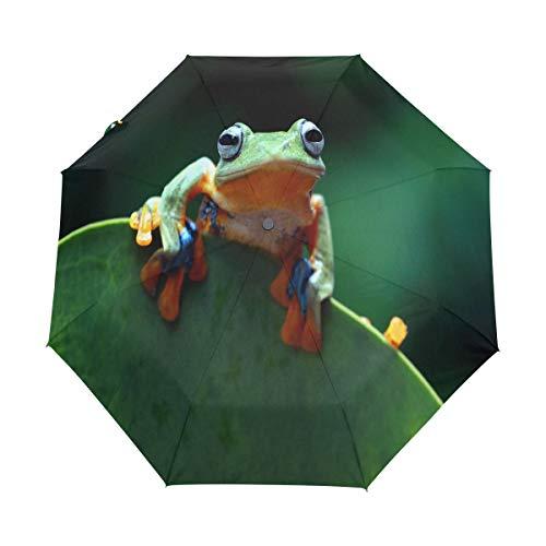 Hunihuni Faltbarer Regenschirm mit Frosch-Motiv, winddicht, wasserdicht, UV-Schutz, Sonnenschutz.