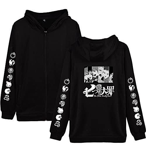 Yuhuaouzhou Anime The Seven Deadly Sins Sudaderas con Capucha de Manga Larga Streetwear Nanatsu No Streetwear Taizai Impreso Hoodies Outwear Unisex