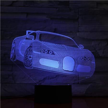 Cumpleaños regalo hecho a mano conmemorativo lámpara de mesa 3D regalo sensor de coche deportivo cambio de color regalo de cumpleaños luz de noche led luz de noche inteligente de Navidad