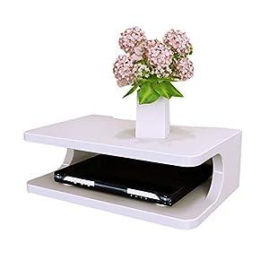 QIANDA Estantes Flotantes de Pared Decodificador De TV Caja De Almacenamiento del Router Estanterías De Almacenamiento Muebles Organizador, 4 Colores, 30x20x10cm (Color : Blanco)