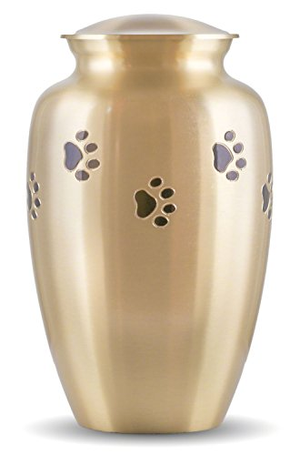 Best Friend Services Pet Urn - Ottillie Paws Memorial Pet Cremation Urns for Dogs and Cats Ashes Hand Carved Brass Memory Keepsake Urn (Raku, Vertical, Brass)