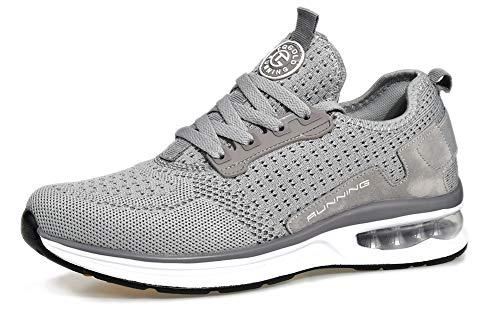 tqgold Sportschuhe Herren Damen Turnschuhe Laufschuhe Leichte Schuhe Sneakers(Grau,Größe 38)