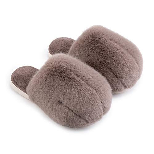 xinxinchaoshi Zapatillas de casa Algodón Zapatillas Zapatos de Invierno de Las Mujeres peludas Linda Pareja Coreana Caliente de Interior hogar CáLido Zapatillas (Color : D, Size : 41-42)