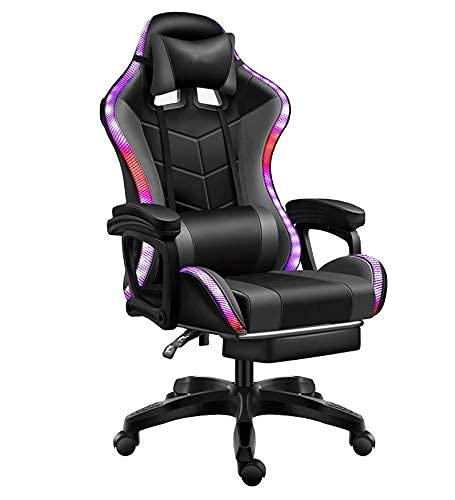 GAXQFEI Silla de Oficina Gaming Racing Respaldo de Computadora Hogar Pink Girl Silla de Oficina Reclinable Cómoda Silla de Juegos Led, a,B