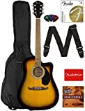 Fender FA-125CE Dreadnought Cutaway Acoustic-Electric Guitar - Sunburst Bundle with Gig Bag, Strap, Strings, Picks, Fender Play Online...