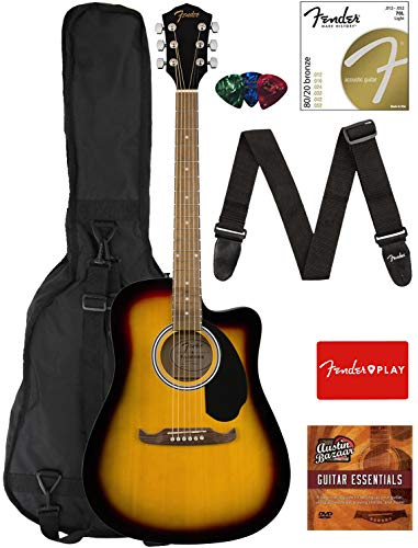 Fender FA-125CE Dreadnought Cutaway Acoustic-Electric Guitar - Sunburst Bundle with Gig Bag, Strap, Strings, Picks, Fender Play Online Lessons, and Austin Bazaar Instructional DVD
