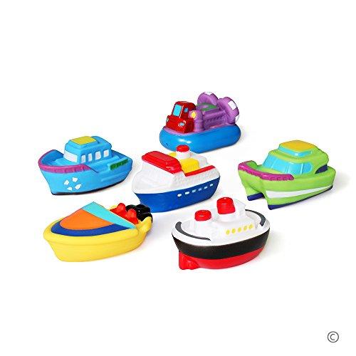 JUNSHEN Badespielzeug Geschenkset(6PCS)Mit Kostenlos Aufbewahrungstasche,Bad Boot Spielzeug,Bath Boat Toys,Schwimmenden Boot Badespaß Zeit Großes Geschenk für Baby