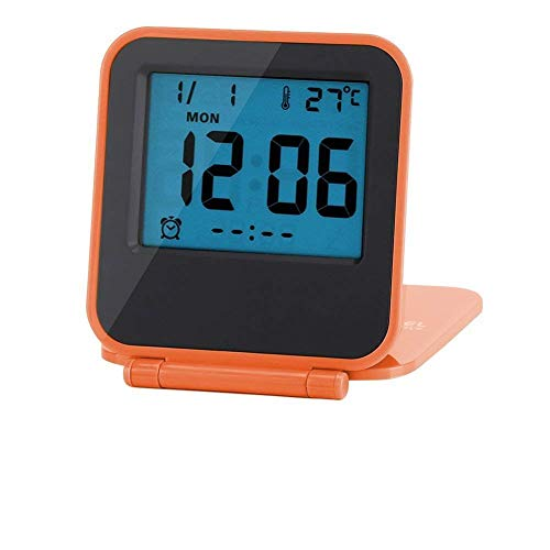 zusammenklappbar Wecker Tragbar Ultra Slim Design Reise Tabletop Digital Wecker mit temperaturanzeige Kalender Datum Woche Orange