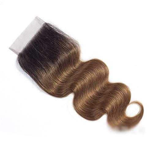 Natürliche Haarteile Brazillian Body Wave Echthaar 4x4'Lace Frontal Closure Free Teil, 1B / 30 Schwarz bis Braun...