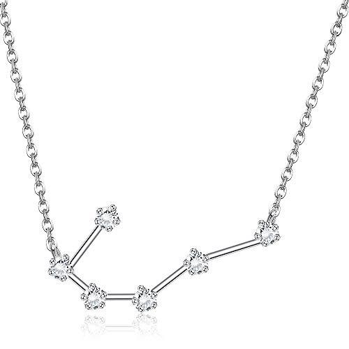 Sllaiss 925 sterling silver oroscopo segno zodiacale collana per le donne ragazze 12 collana pendente costellazione cubic zirconia collana di astrologia anni dell'adolescenza regali di compleanno