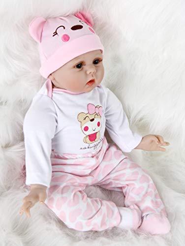 HRYEOY 22In 55cm Muñecos bebé Reborn niñas Realista Silicona Suave Recién Nacido Juguete Reales Silicona Hecha a Mano de Cumpleaños para niños