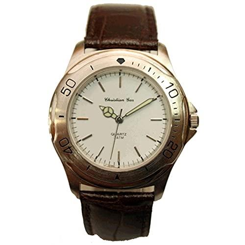 Christian Gar Cg-18151 Reloj Analógico para Hombre Caja De Acero Inoxidable Esfera Color Blanco