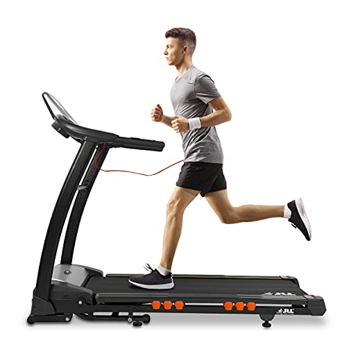 JLL S400 Folding Treadmill, 2020 New Generation Digital Control 4.5HP Motor, Large Running Area, 20 Level Incline, 15 Programmes, Speakers, Bluetooth, USB & AUX, 16 Point Cushion Deck, LCD Display