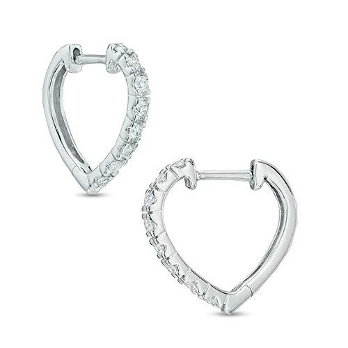 Ani's Pendientes de aro en forma de corazón de diamante de corte redondo T.W. D/VVS1 chapados en oro blanco de 10 quilates con plata de ley 925