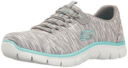 Skechers Women's Sport Empire - Rock Around Relaxed Fit Fashion Sneaker, Gray/Light Blue, 8 B(M) US