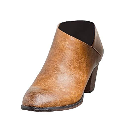 Minetom Damen Gummistiefel Kurzschaft Stiefel Blockabsatz Chelsea Boots Leopard Schuhe Reißverschluss PU-Leder Stiefeletten Große Größen Braun 42 EU