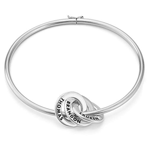 MyNameNecklace Personalised 3 Russian Ring Bangle Bracelet – Custom Engraved Discs Silver 925