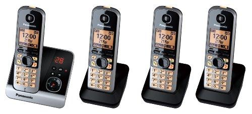 Panasonic KX-TG6724GB Quattro Schnurlostelefone mit 3 zusätzlichen Mobilteilen (4,6 cm (1,8 Zoll) Display, Smart-Taste, Freisprechen, Anrufbeantworter) schwarz/silber