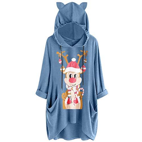 KUDICO - Sudadera con capucha para mujer, diseño de orejas de gato, manga larga, con estampado de orejas de gato