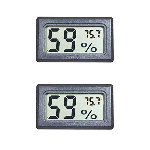 Veanic 2-Pack Mini Digital Electronic Temperature Humidity Meters Gauge Indoor Thermometer Hygrometer LCD Display Fahrenheit (℉) for Humidors, Greenhouse, Garden, Cellar, Fridge, Closet