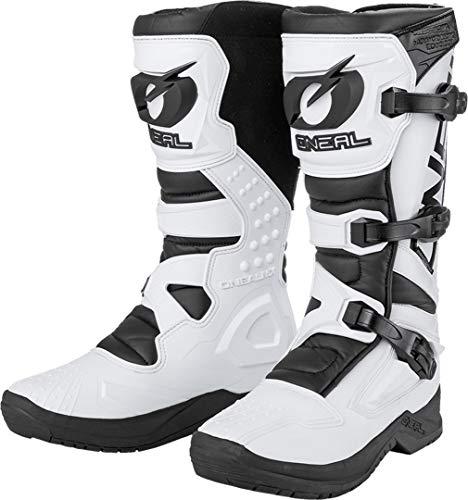 O'NEAL | Motocross-Stiefel | Motorrad Enduro | Innerer Knöchel-, Fuß, und Schaltzonenschutz, Perforiertes Innenfutter, hochwertiger Mikrofaser | Boots RSX | Erwachsene | Weiß | Größe 49