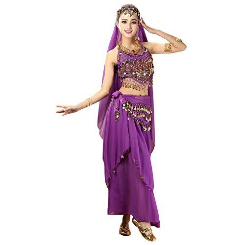 Xinvivion 4 Piezas Mujer Señoras Danza del Vientre Profesional Conjunto de Vestuario Danza India Rendimiento Outfit Traje (Morado,Ajuste 35-45 KG)