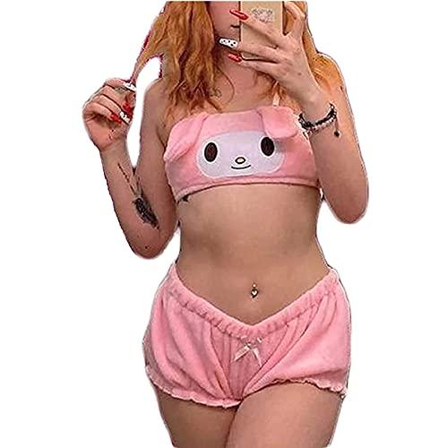 Conjunto de pijama para mujer y niña, diseño de conejito de terciopelo y pantalones cortos