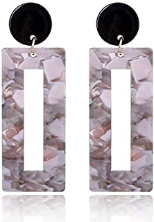 Earrings 2 Pairs Acrylic Square Stud Earrings For Women Punk Jewelry Accessories(Pink) Earrings (Color : Grey)