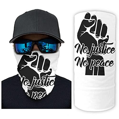 CCMugshop Bandana Face Mask Keine Justicia Keine Friedensfaust Print Face Rave Balaclava UV Residence White One Size