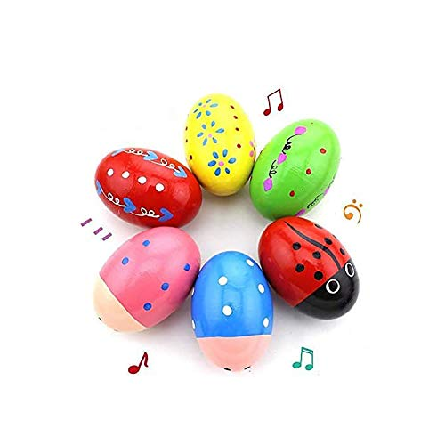 Ehome Wooden Percussion Musical Egg Easter Maracas Shakers Kids Toys with Assorted Colors