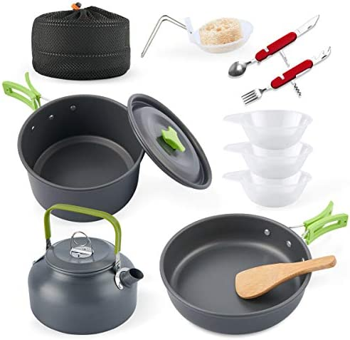 eatcamp Camping Cookware Camp Cookware Set with Kettle Compact Camping Aluminum Cookware Set product image