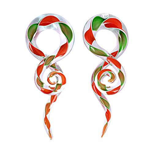 Oyaface 2Pcs Glass Ear Tapers Plugs Ear Spiral Taper Piercing Set Gauges 4G-16mm Ear Plug Hangers Expander