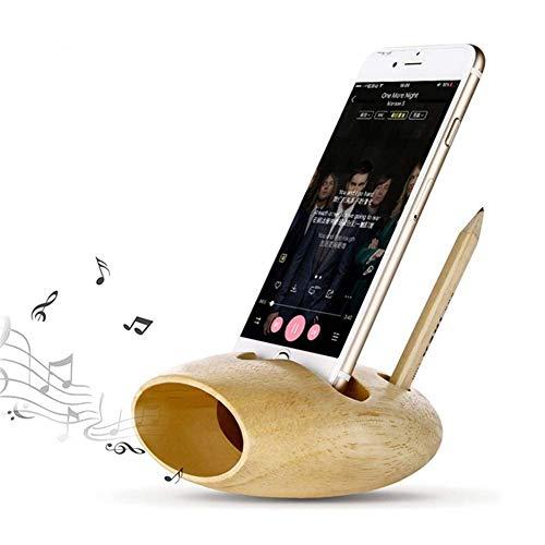 Starmood Bambú Teléfono Soporta Creative Lápiz Contenedor Sonido Amplificador Carga USB Estación...