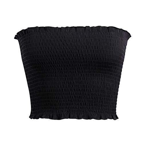 Women's Strapless Pleated Sexy Tube Crop Tops (S/M,Black)