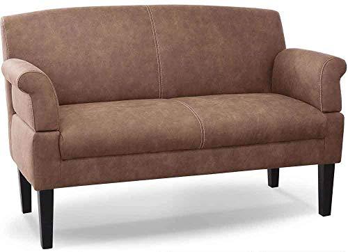 CAVADORE 2-Sitzer Küchensofa Malm, Sitzbank für Küche oder Esszimmer in Lederoptik, Inkl. Armteilverstellung, Federkern und moderner Kontrastnaht, 152 x 97 x 78, Mikrofaser: hellbraun