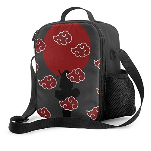 Lightweight Large Insulated Lunch Bag Flexible Tote Bag with Double Zipper Naruto Akatsuki Cloud Canvas Box for Girls HikingBeach