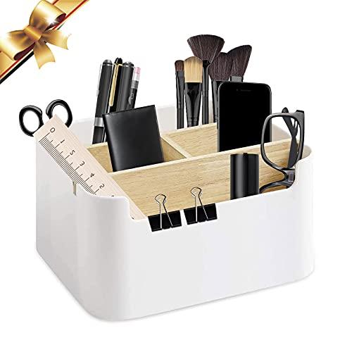 Holz Desktop Organizer, 5 fächer Holz Desktop Stift Holz Desktop Aufbewahrungsbox Holz Desktop Fernbedienungshalter Holz Stiftehalter, für Pen Schere Handy Gläser Fernbedienung
