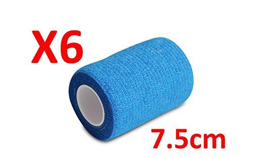 PintoMed Bendaggio COESIVO - Blu Garza Elastica, 6 Rotoli x 7.5 cm x 4.5 m autoadesiva Flessibile Bende, qualità Professionale, Primo Soccorso - Sports Wrap Cohesive Bandage - Confezione da 6