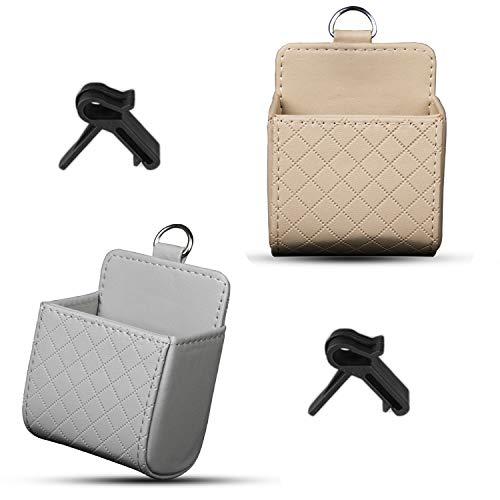 behone 2 pcs PU Car Organizer Interior Storage Bag, Storage Bag for Cars, Vehicle Air Vent Hanging Bag for Mobile Phones Glasses Keys Coins Bill Deposit