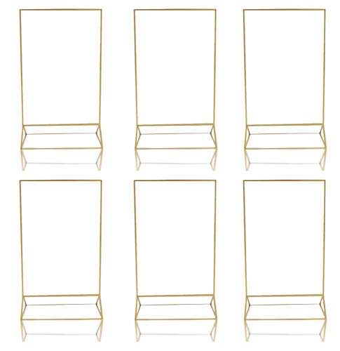 Gold Acrylic Frame Picture Table Holder | Ideal for Double Sided Sign, Clear Photo Holders, Menu Set, Art Display, Wedding Number Stand Decor, Set of 6 5 inches x 7 inches Frames