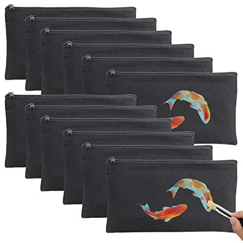 DIY Blanko Bolsas de tela para pintar, 12 unidades de neceser pequeño, bolsa con cremallera, pequeña para niños, para pintar y decorar (negro)