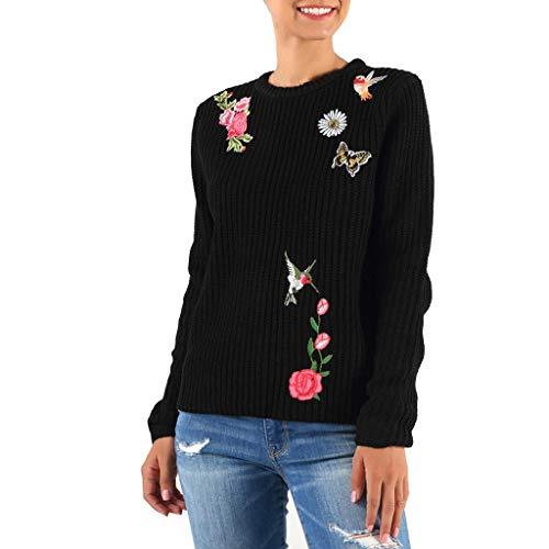 TEFIIR Damen Niedliche Print Kapuzenpullover O-Ausschnitt Solide Color Langarm Stickerei Pullover Lässige Bluse Langarm Sweatshirt Lose Tops Hoodies