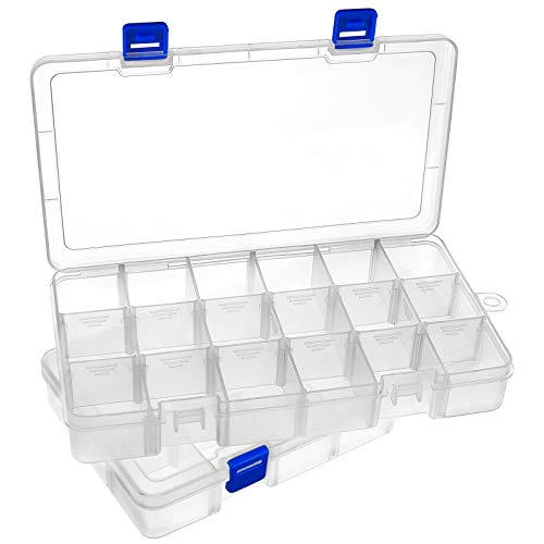 DARUITE 2PCS 18 Grids Plastic Storage Box with Compartments, Jewellery Storage Organiser with Lid, Small Clear Containers Organiser Box for Beads Earring Tool Fishing Hook Small Accessories