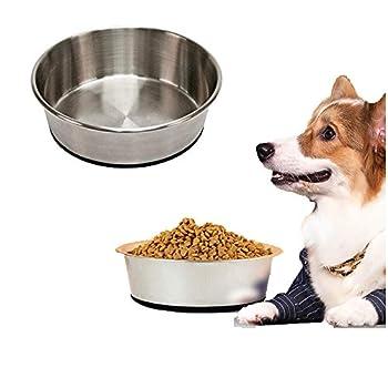 GreeSuit Gamelles en acier inoxydable pour chien, gamelles pour chats, assiettes pour chien et chat avec base en caoutchouc antidérapant, gamelles pour petits animaux et gamelles d'eau 900 ml
