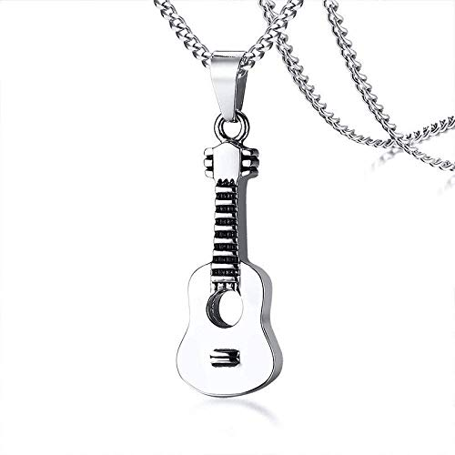 niuziyanfa Co.,ltd Punk Guitar Pendant for Women Men Cremation Keepsake Stainless Steel Necklace Music Lover Gift Ornaments Curb Chain