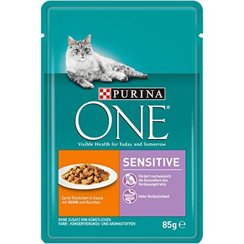 PURINA ONE SENSITIVE Katzenfutter nass, zarte Stückchen in Sauce mit Huhn, 24er Pack (24 x 85g)